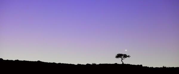 Venus above the rim of an extinct volcano at Pagatonia, Argentina