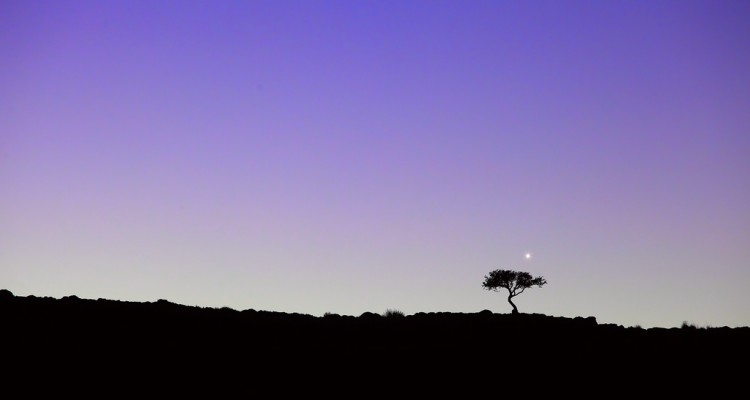 Venus above the rim of an extinct volcano at Pagatonia, Argentina