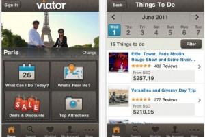 Screenshot of Viator.com's mobile app for iPad/iPhone