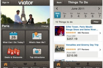 Screenshot of Viator.com's mobile app for iPad/iPhone