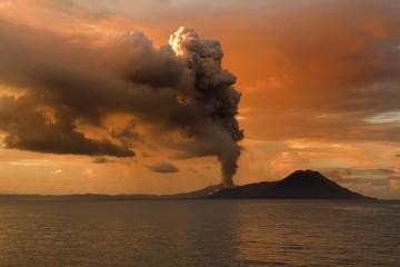Tarvurvur Volcano erupting in Papua New Guinea
