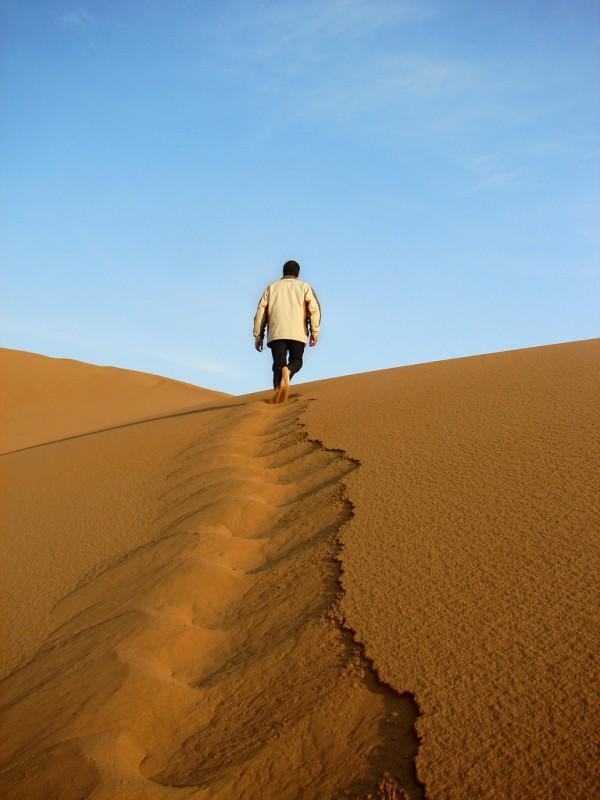 Walking Sand Dune Trail in the Desert, Iran