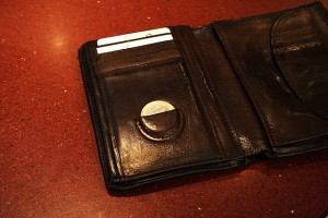 Closeup of a black wallet