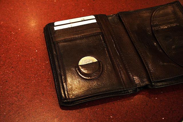 Closeup of a black wallet