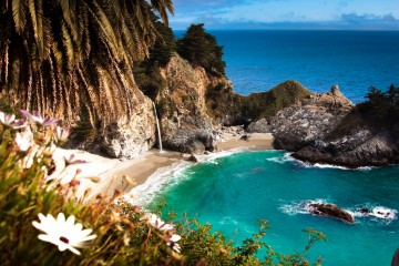 Waterfall and swimming hole in Big Sur, California
