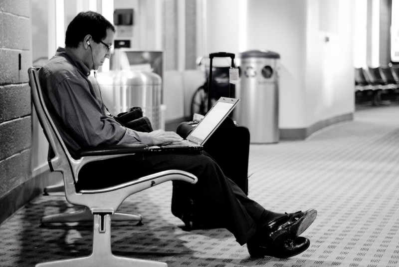Weary Traveler at San Diego Airport