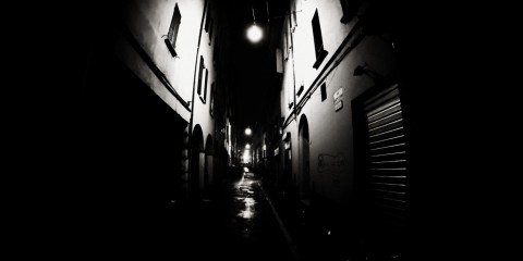 Dark streets of Bologna, Italy