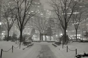 Winter scene in the financial district of Boston