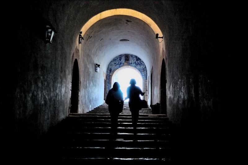 Women on Dark Staircase, Portugal