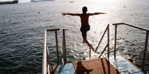 Young Boy Diving in Gibraltar